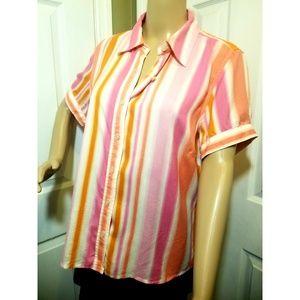 Liz Claiborne top 100% Silk L💃career, short sleev